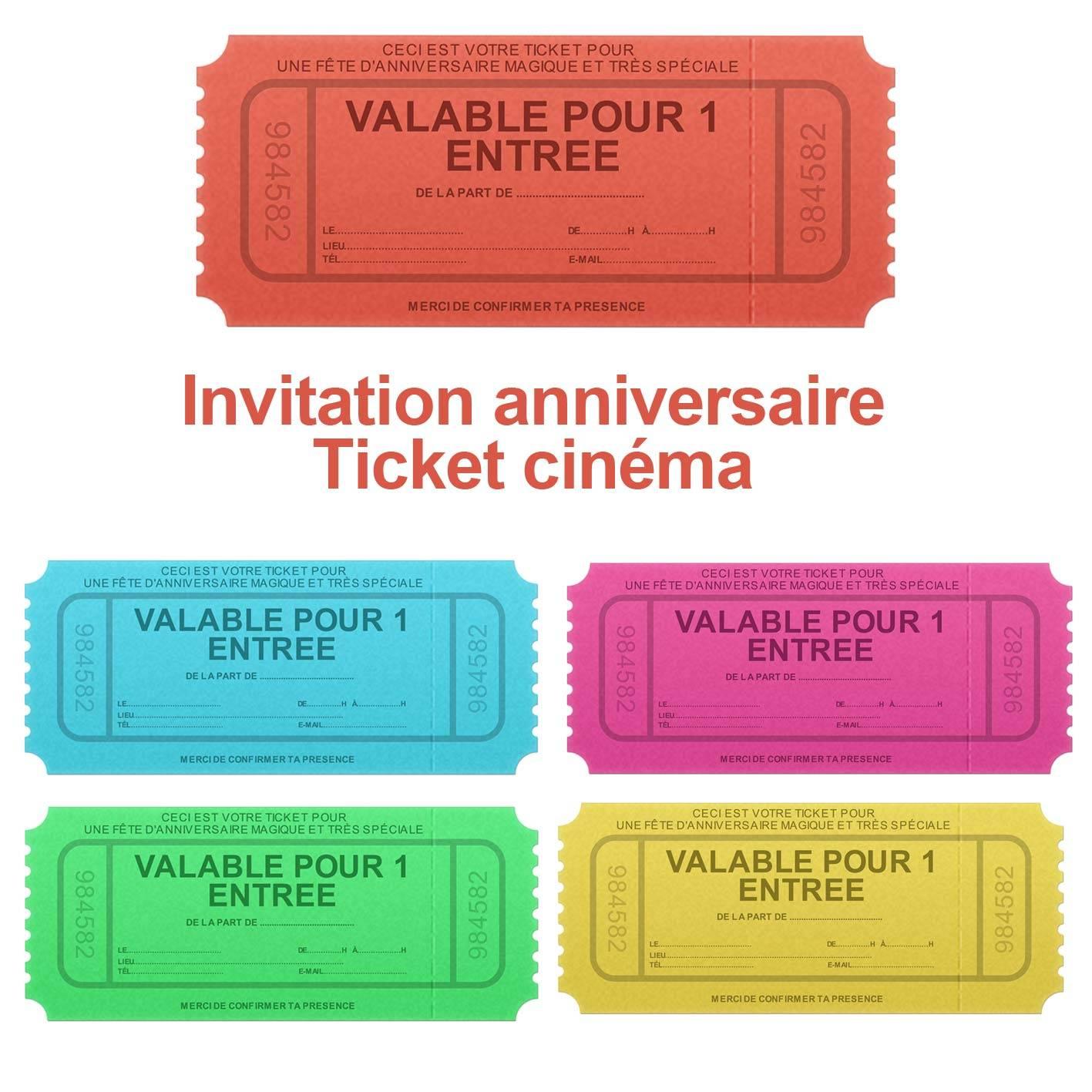 Invitation Anniversaire Faux Ticket De Cinéma | 123Cartes à Faux Billet A Imprimer