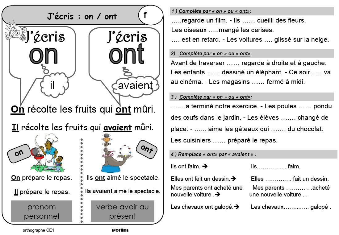 Ipotâme .tâme: Ce1 Orthographe Exercices Et Leçons destiné Cours Ce1 Gratuit A Imprimer