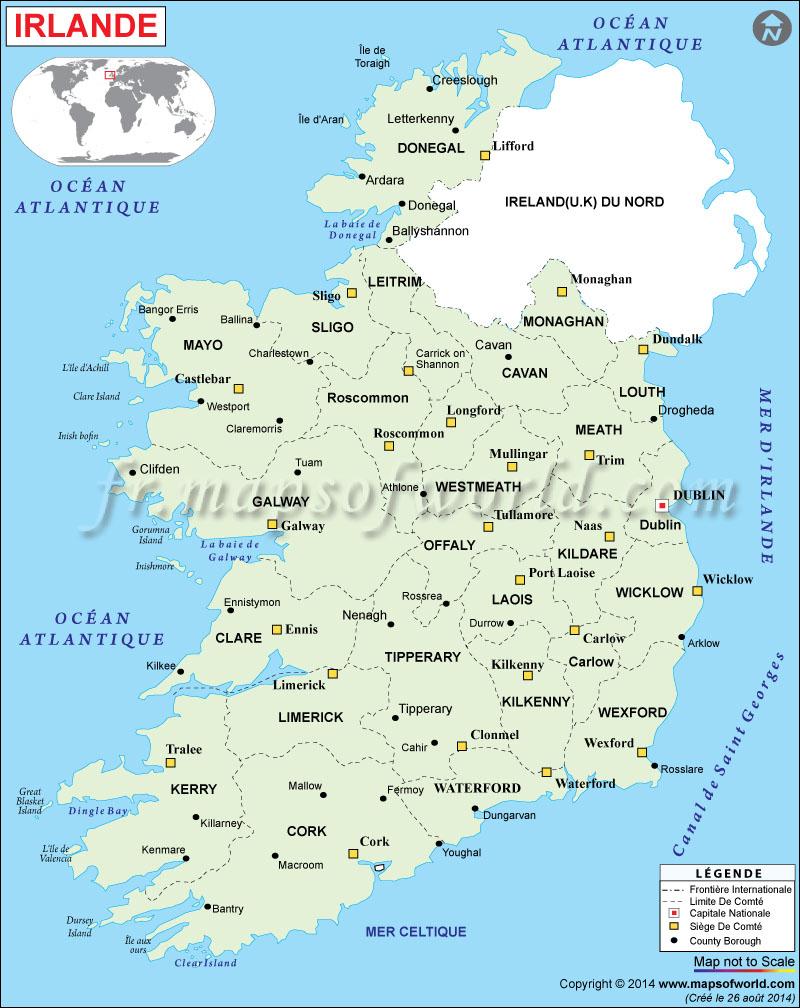 Irlande Carte concernant Mappe De France