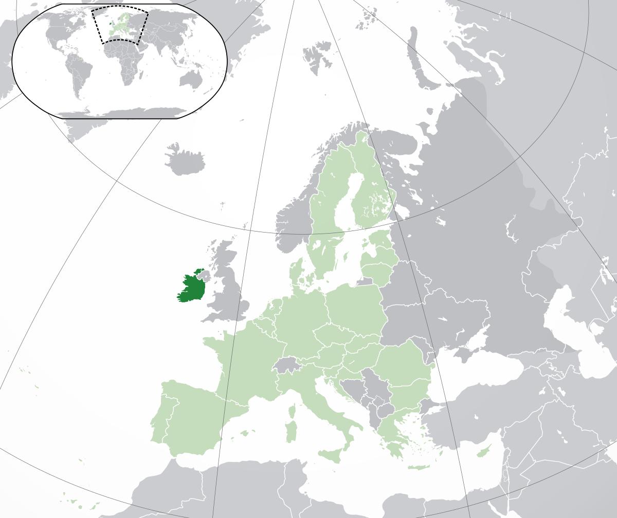 Irlande (Pays) — Wikipédia pour Carte Europe Pays Et Capitale