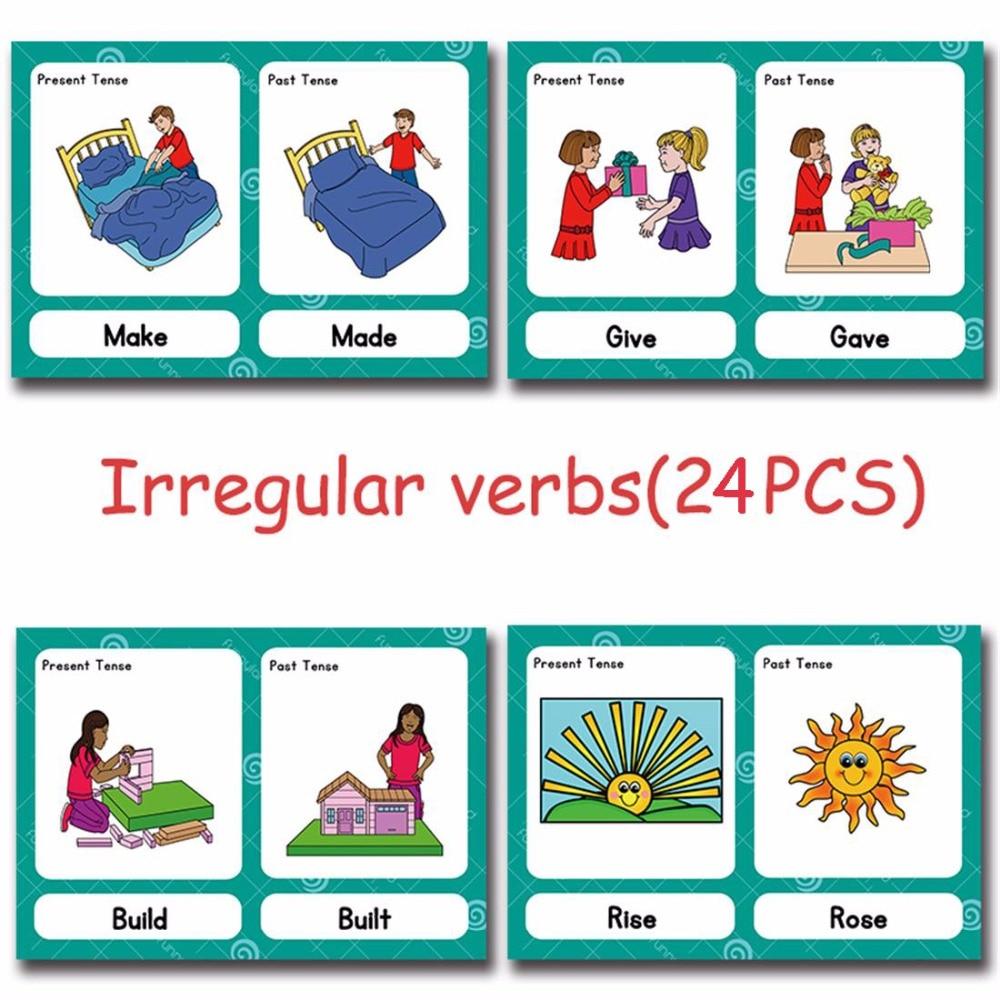 Irrégulière Verbes Anglais Mot Carte Flashcards Jeux Puzzle pour Mot Pour Enfant