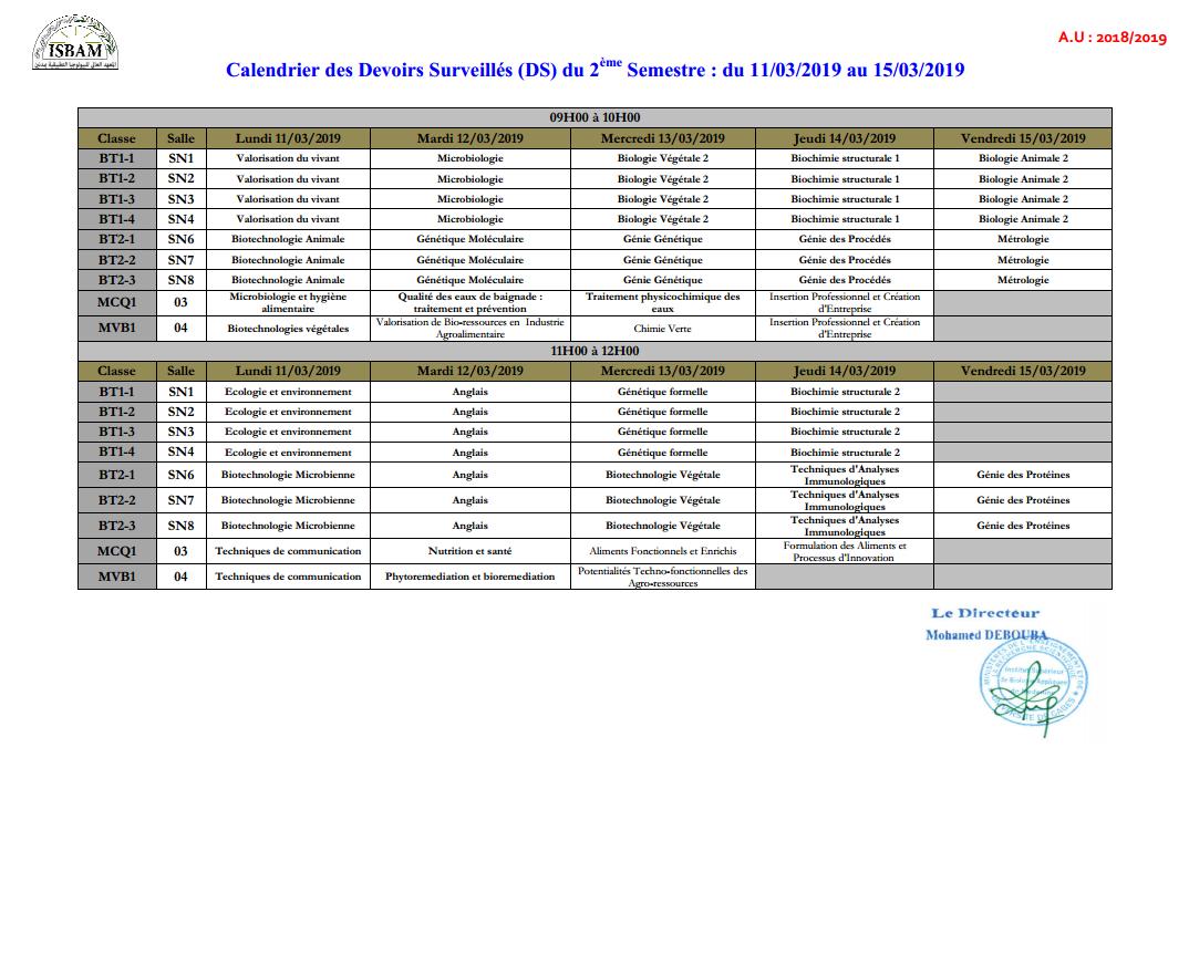 Isbam - Calendrier Des Ds1 Semestre 2: Au 2018-2019 à Calendrier 2Ème Semestre 2018