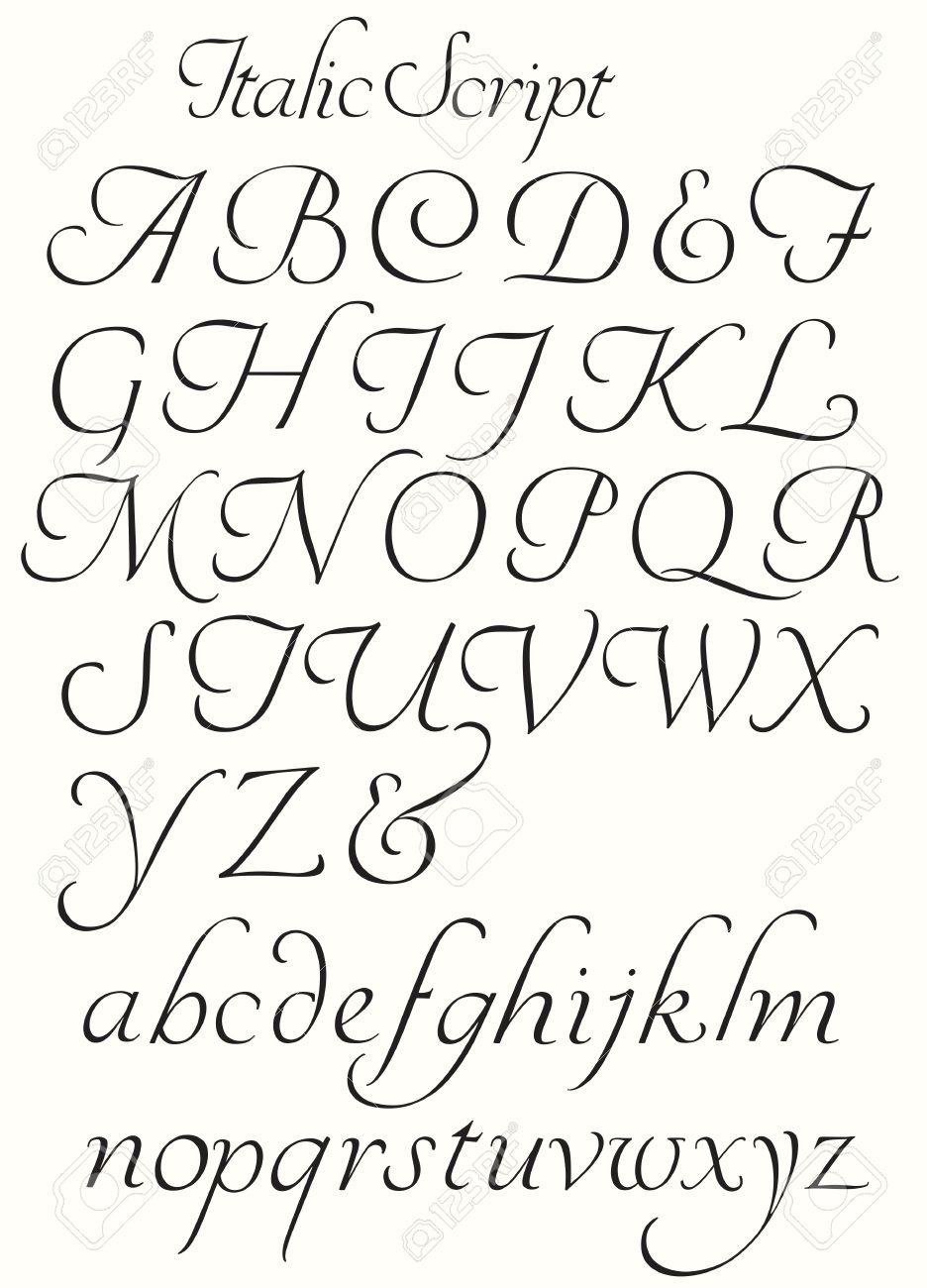 Italic Script Alphabet Capitals And Small Letters. Decorative.. pour Alphabet Script Minuscule