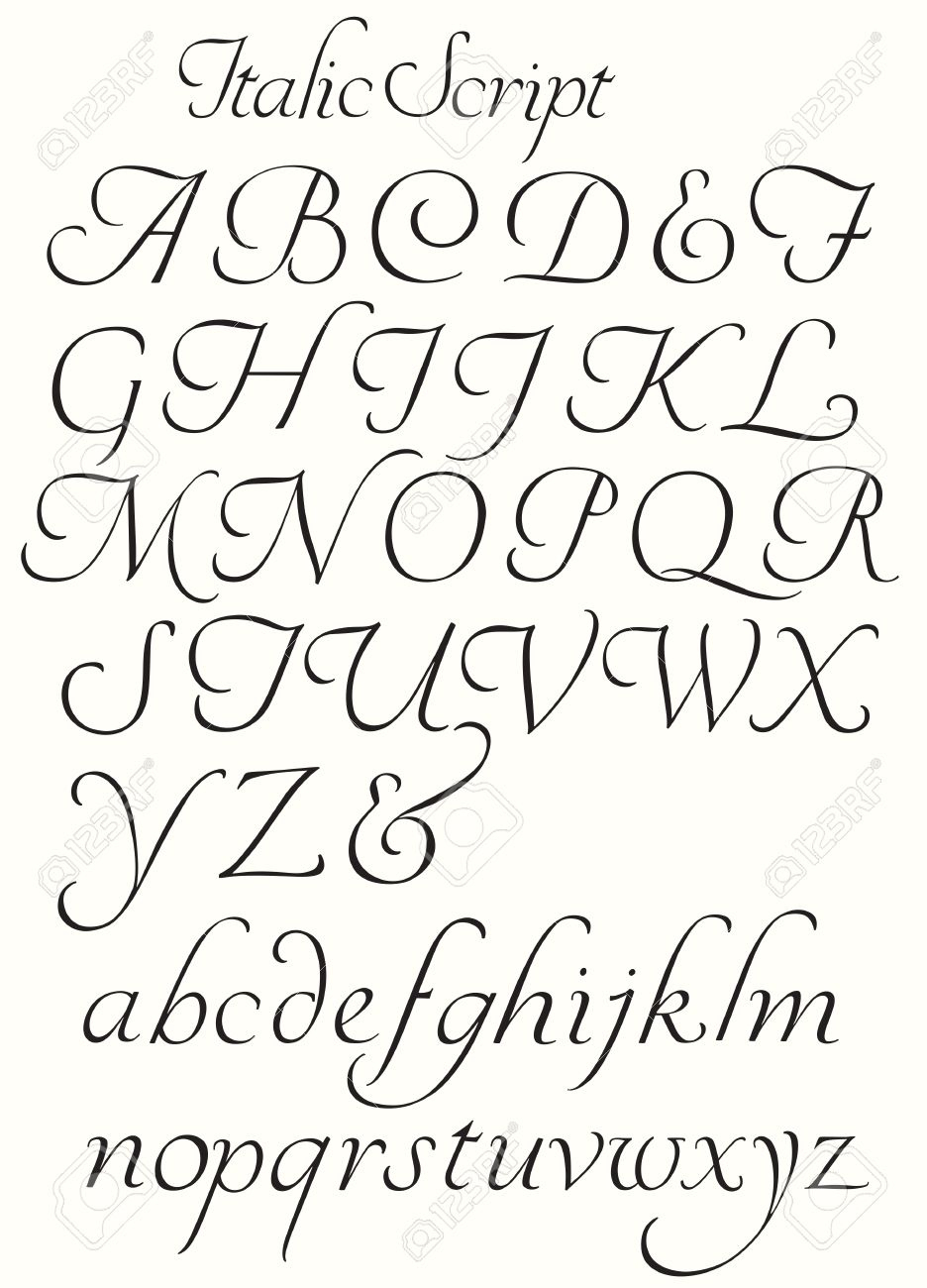 Italiques Script Alphabet Majuscules Et Minuscules. Lettres Décoratives À  Utiliser Pour Les Bouchons Titres De Chute, Etc. destiné Alphabet Majuscule Et Minuscule