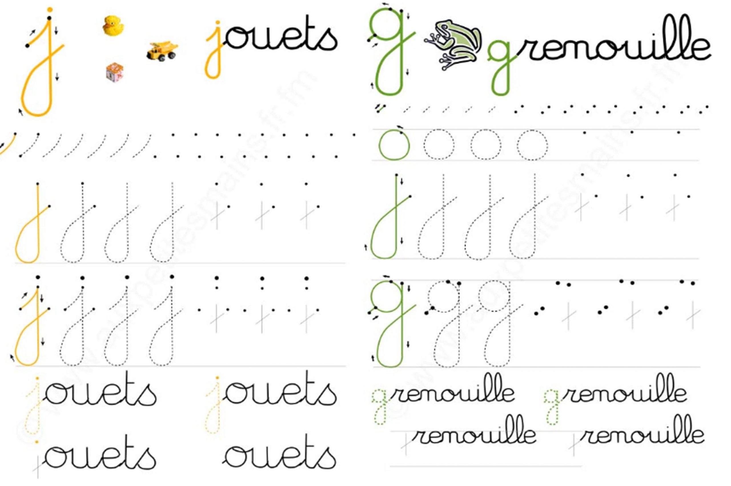 J-Et-G (3321×2210) | Écriture Lettres, Cursive pour Alphabet Français Écriture