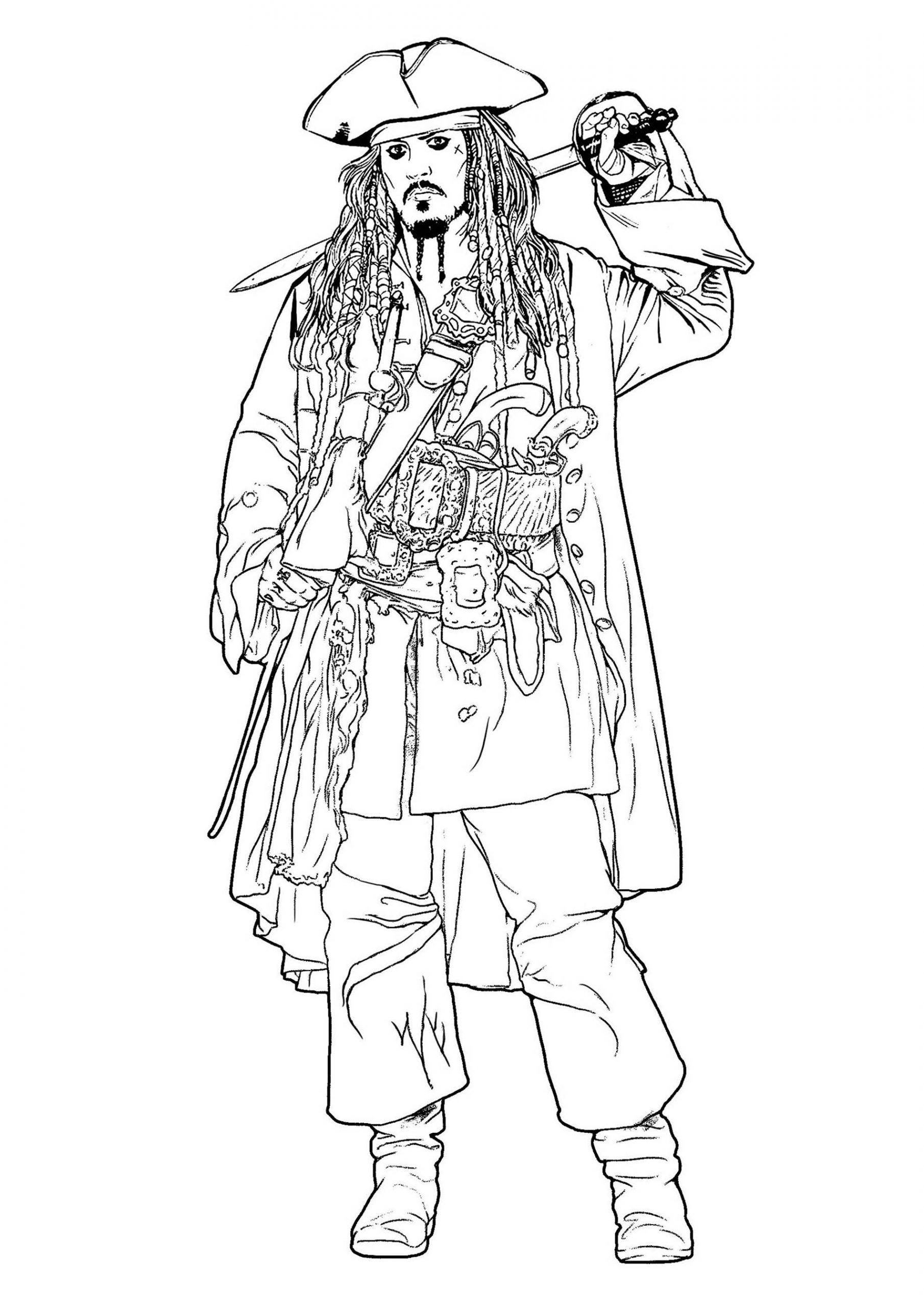 Jack Sparrow Pirates Des Caraïbes - Coloriage Pirates Des tout Dessin A Imprimer De Pirate