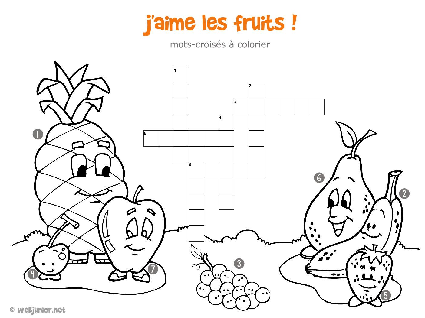 J'aime Les Fruits : Mots-Croisés Enfant, À Imprimer Et Colorier dedans Mots Croisés Junior À Imprimer