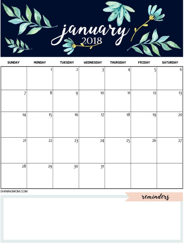 January-2018-Cute-Calendar 988×1,315 Pixels | January tout Planning Annuel 2018