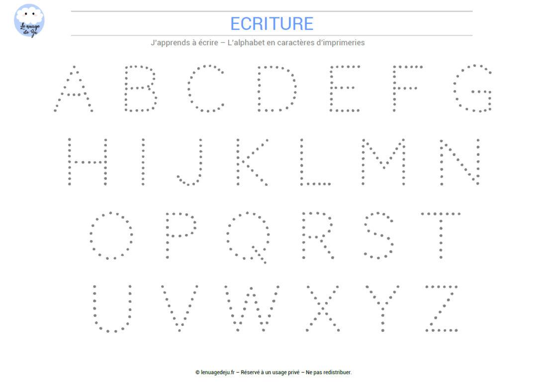 J'apprends À Écrire L'alphabet En Pointillés - Le Nuage De Ju pour Apprendre À Écrire L Alphabet