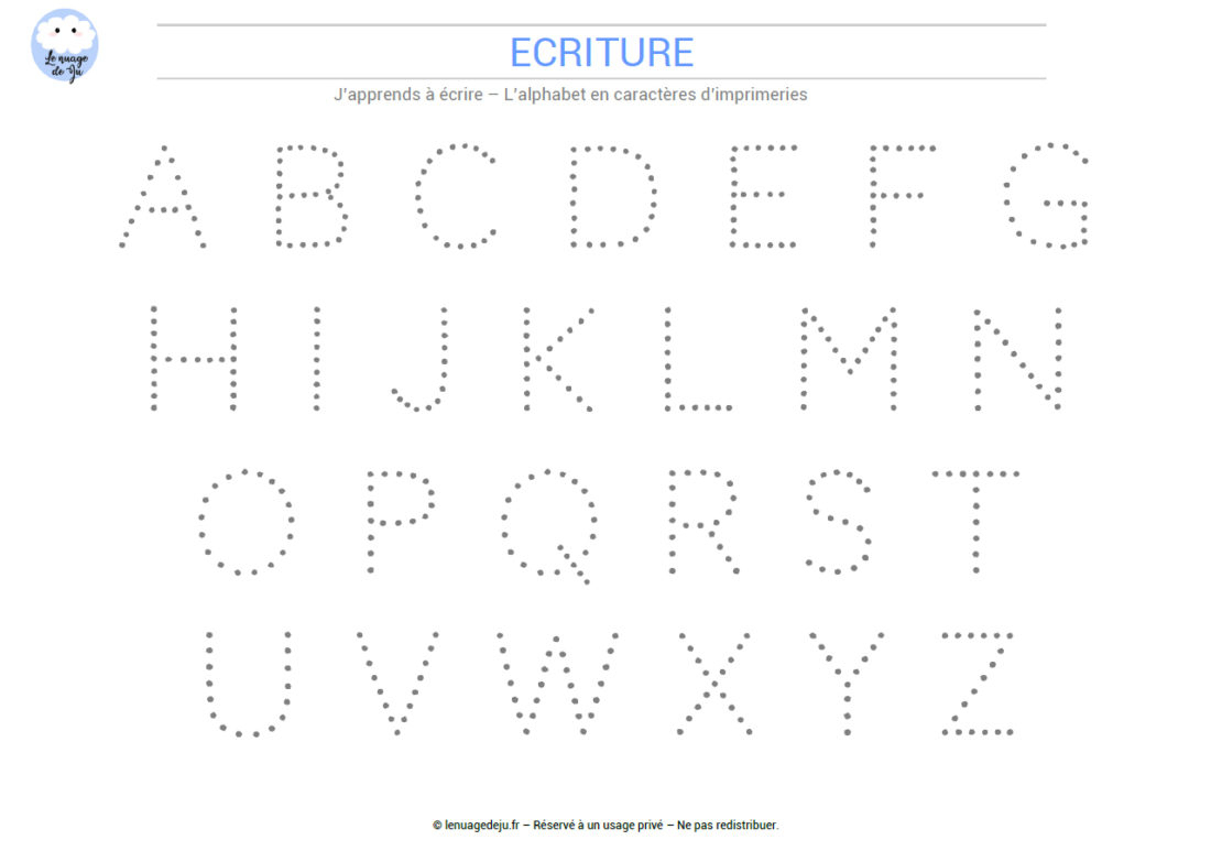 J'apprends À Écrire L'alphabet En Pointillés - Le Nuage De Ju serapportantà Apprendre A Ecrire L Alphabet