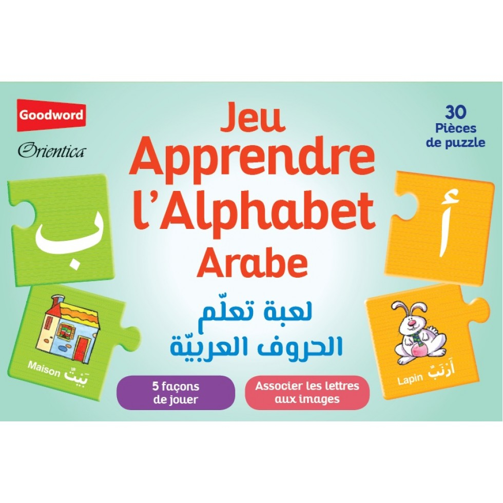Jeu-Apprendre-Alphabet-Arabe-30-Pieces-Puzzles pour Apprendre Alphabet Francais