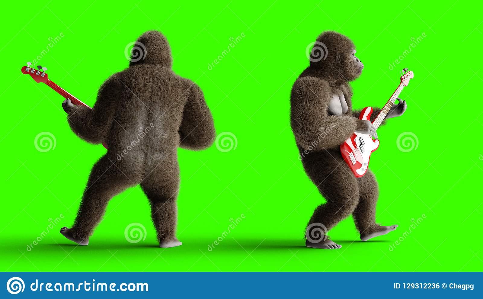 Jeu Brun Drôle De Gorille La Guitare Basse Fourrure Et avec Jeux De Gorille Gratuit