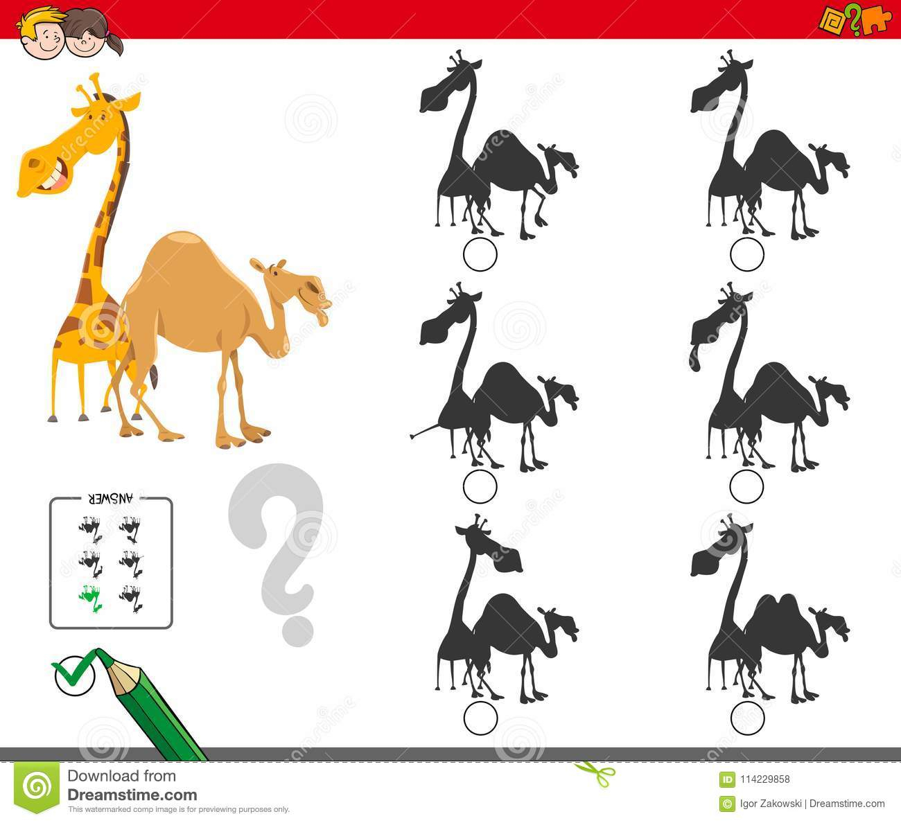 Jeu D'activité D'ombres Avec La Girafe Et Le Chameau concernant Jeux De Girafe Gratuit