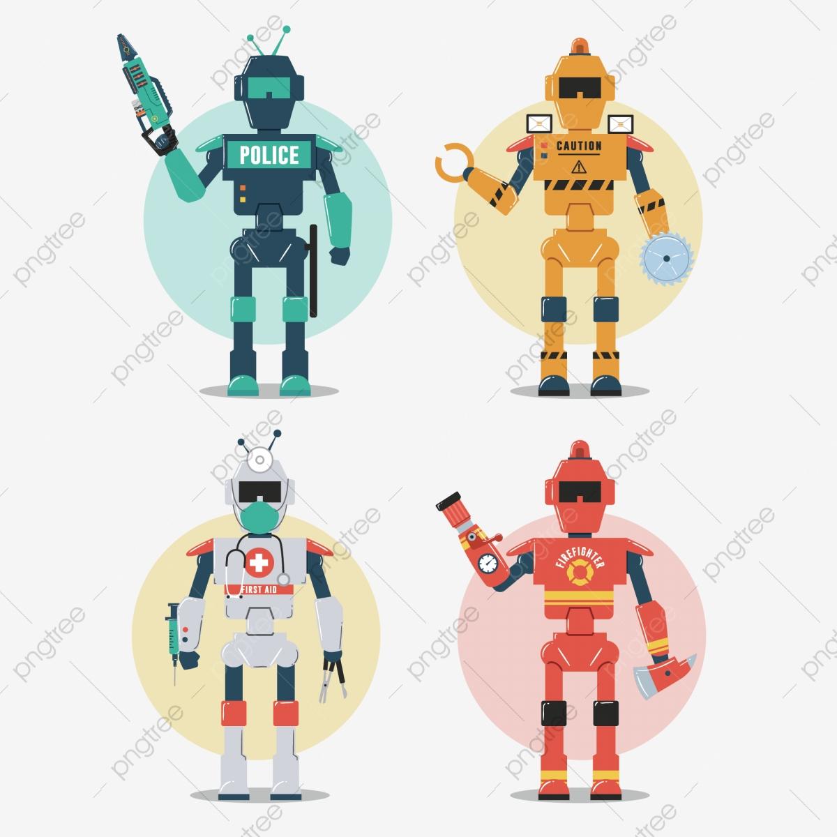 Jeu De Caractères Robot Police Construction Pompier Médical destiné Jeux Gratuit De Pompier