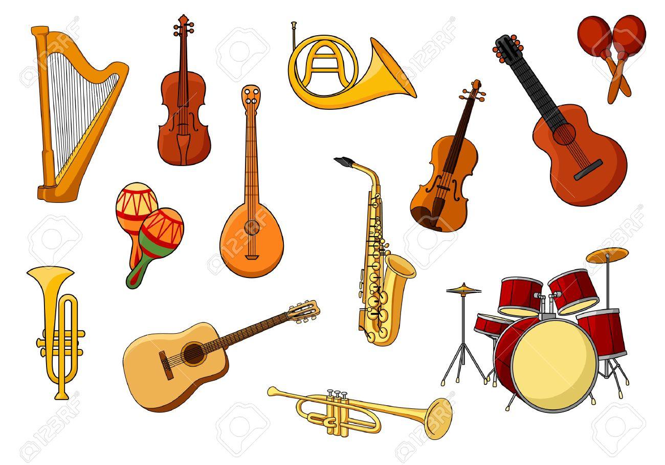 Jeu De Cartoon D'icônes Colorées D'instruments De Musique Avec Une Harpe,  Guitare, Violon, Batterie, Trompette, Sax, Des Hochets, Trombone Et Cor avec Jeu Des Instruments De Musique