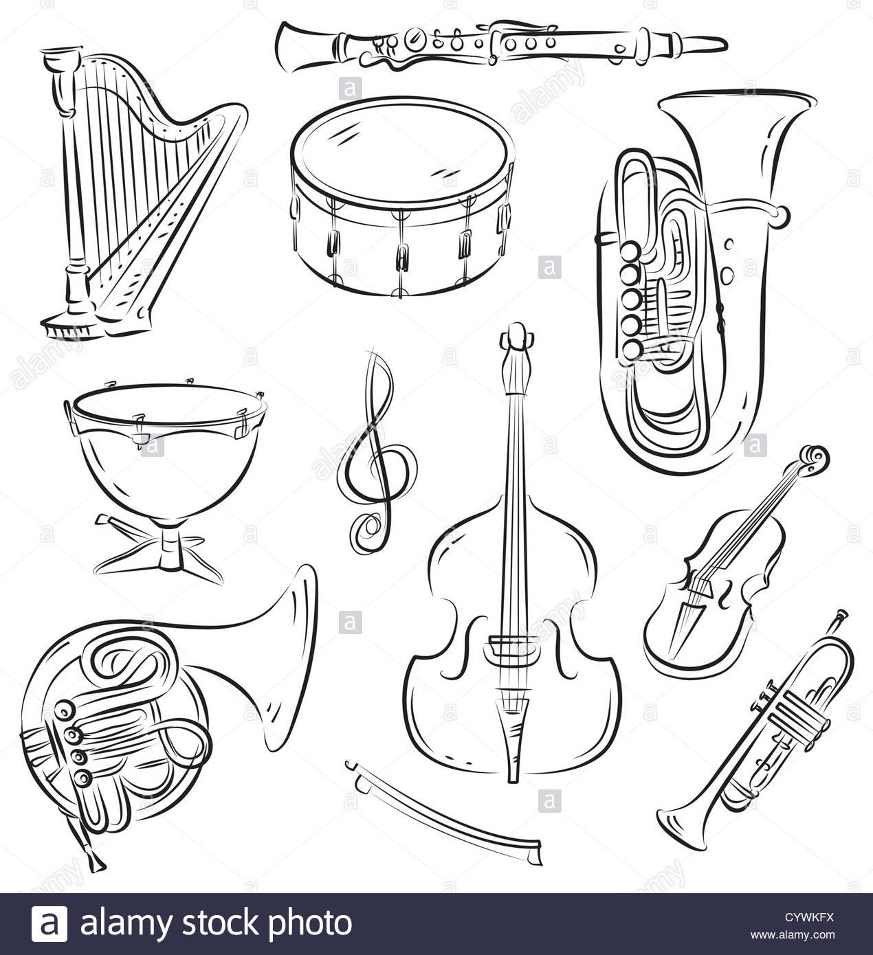 Jeu De Croquis Vecteur D'instruments De Musique De L serapportantà Jeu D Instruments