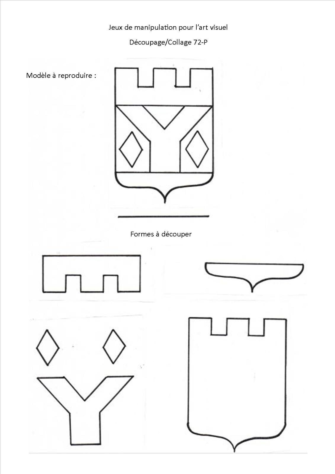 Jeu De Découpage/collage 72, Blason - Association Pittoresque à Jeux De Découpage