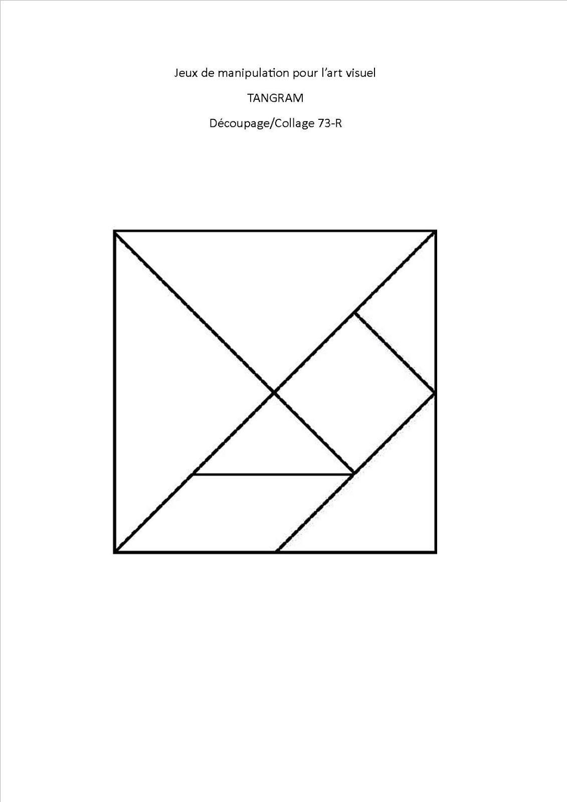 Jeu De Découpage/collage 73, Tangram Chat - Association avec Tangram À Découper