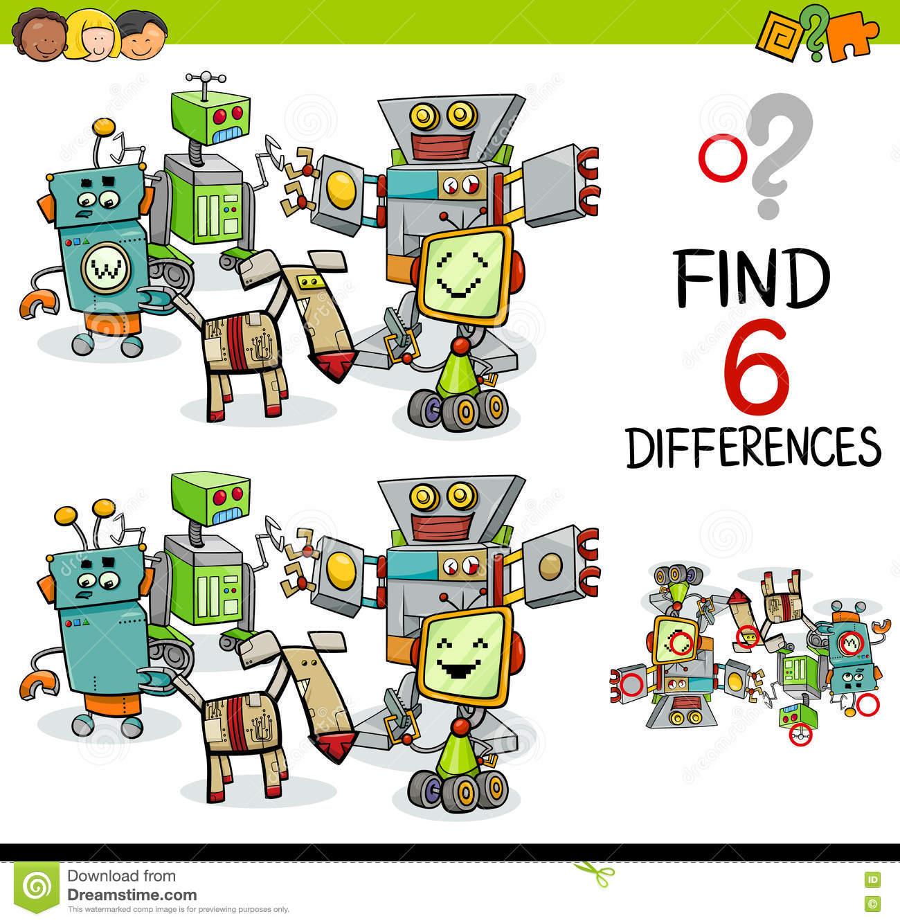 Jeu De Différence Avec Des Robots Illustration De Vecteur dedans Trouver La Différence