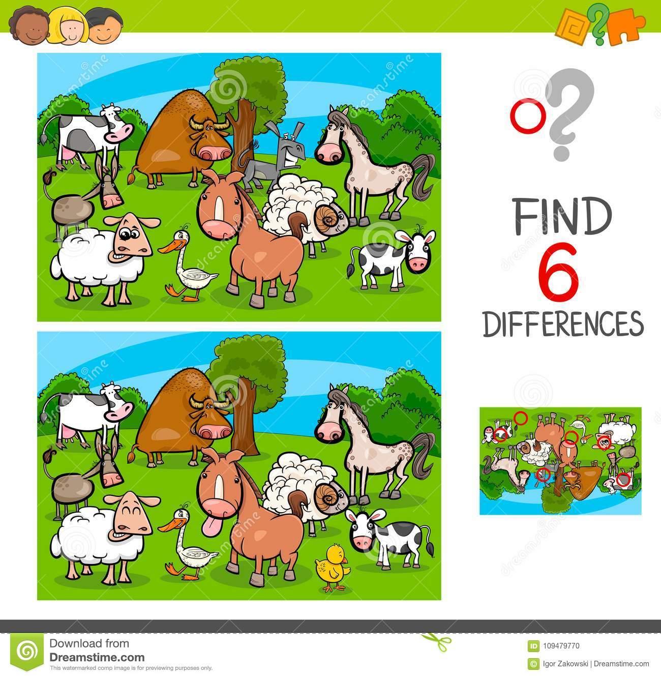 Jeu De Différences Avec Des Caractères D'animal De Ferme encequiconcerne Jeux D Animaux De La Ferme