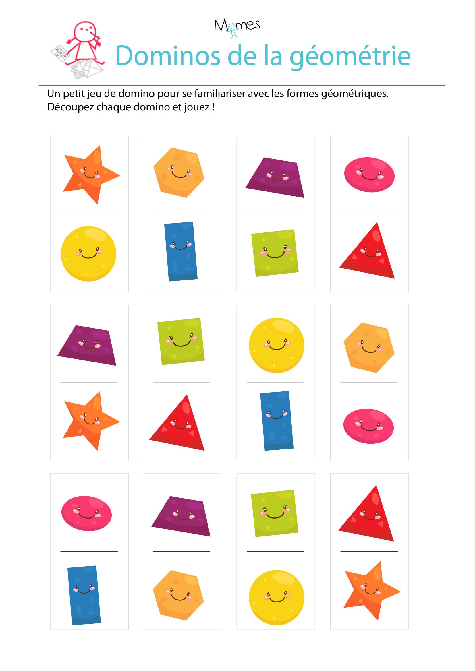 Jeu De Domino À Imprimer Sur Les Formes Géométriques - Momes à Jeux Mathématiques À Imprimer