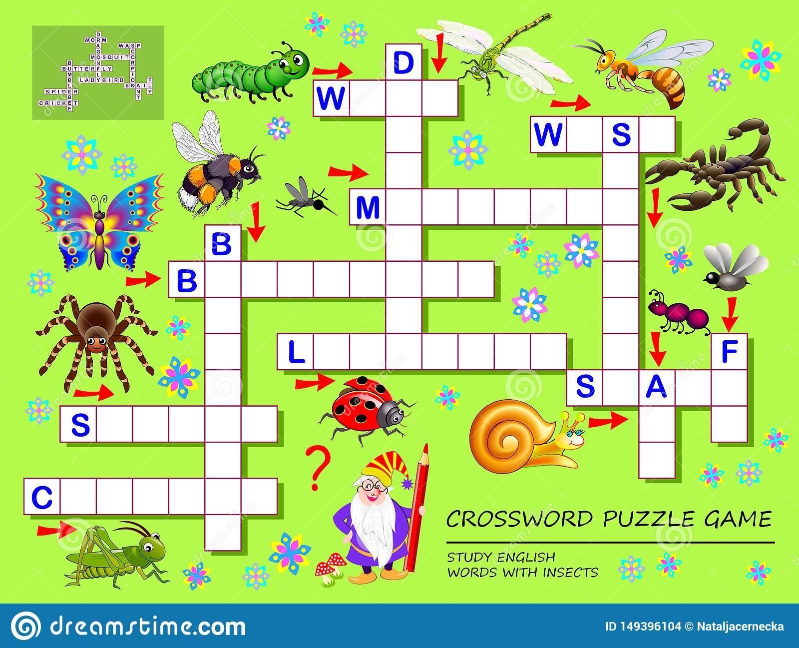 Jeu De Jeu De Mots Croisé Pour Des Enfants Avec Les Insectes encequiconcerne Jeux De Mots Pour Enfants