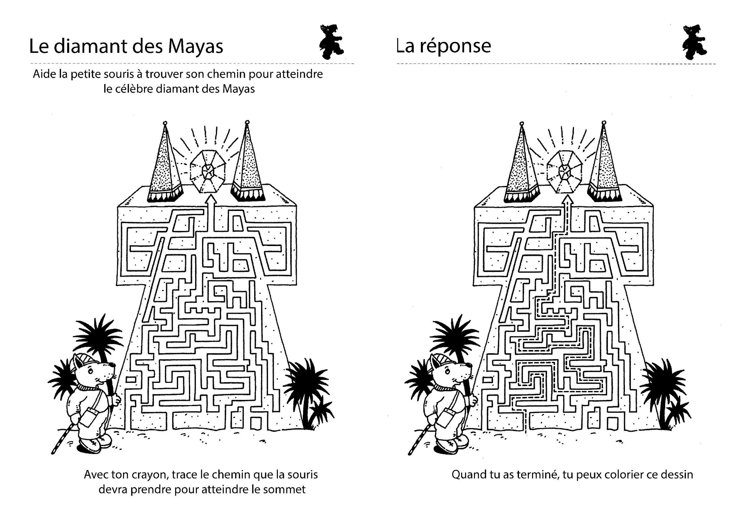 Jeu De Labyrinthe : Le Diamant Des Mayas destiné Labyrinthe A Imprimer