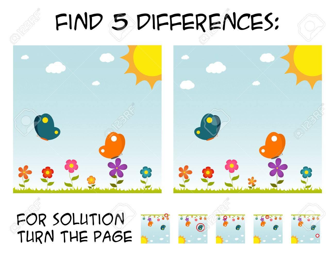 Jeu De L'enfant - Trouver 5 Différences Dans Les Images; Avec Une Solution  Étape Par Étape; Photo Avec Des Papillons Et Des Fleurs Pendant La Journée dedans Les 5 Differences
