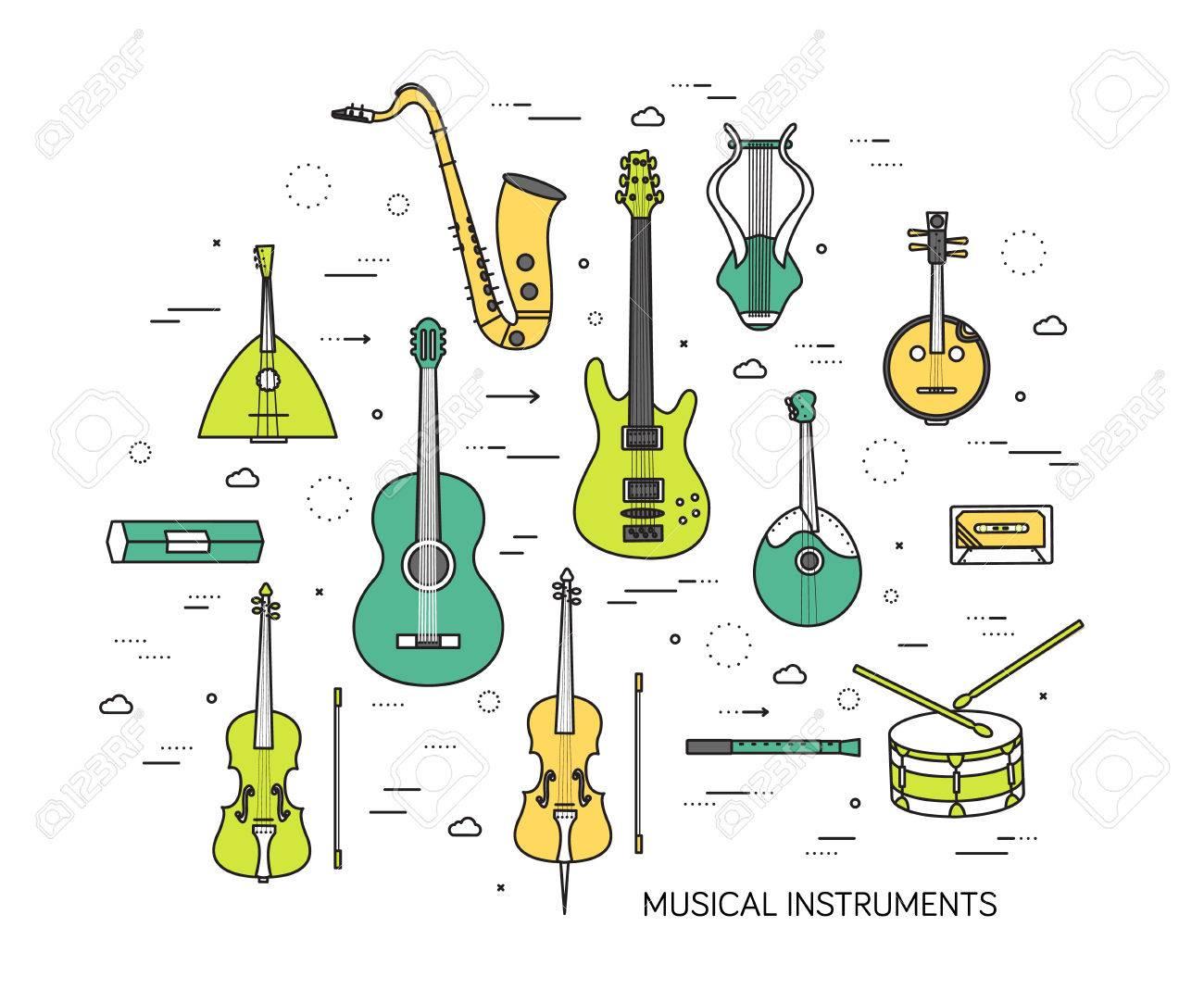 Jeu De Ligne Mince D'instruments De Musique Illustration Moderne Concept.  Manière Graphic De Mélodie Concert. Les Icônes Sur Fond. Flat Design concernant Jeux De Musique En Ligne
