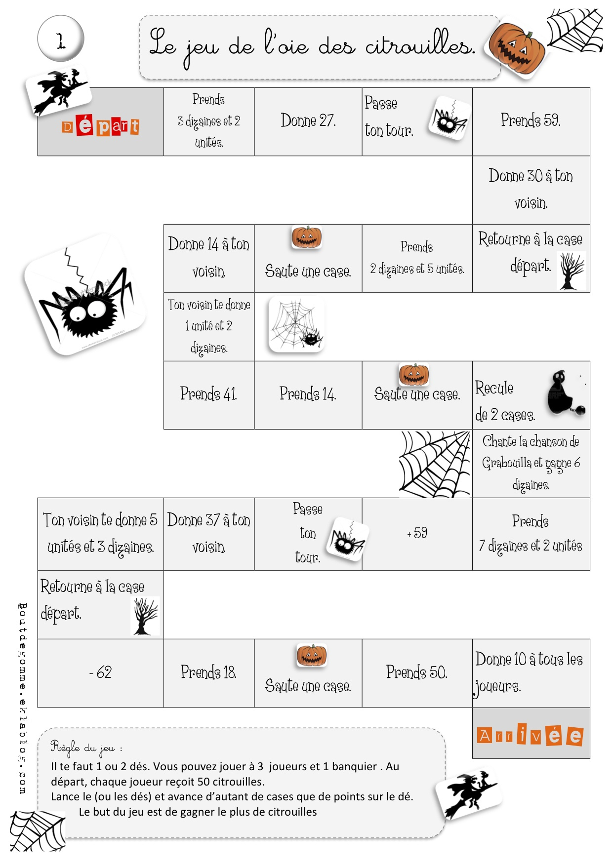 Jeu De L'oie Des Citrouilles : Maths | Bout De Gomme dedans Jeu En Anglais À Imprimer