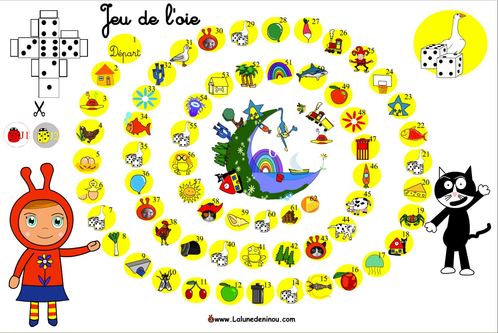 Jeu De L'oie En Ligne - Lalunedeninou encequiconcerne Jeux En Ligne Enfant Gratuit