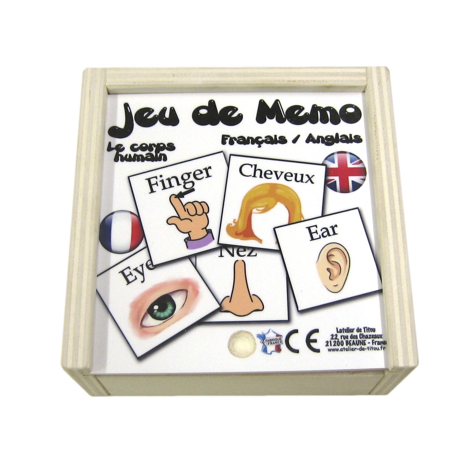 Jeu De Mémo En Bois Bilingue - Le Corps Humain Jeu De Mémo avec Jeux En Anglais A Imprimer