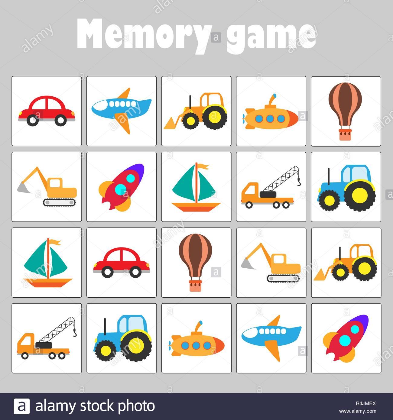 Jeu De Mémoire Avec Des Images Différentes Pour Les Enfants intérieur Jeux De Memory Pour Enfants
