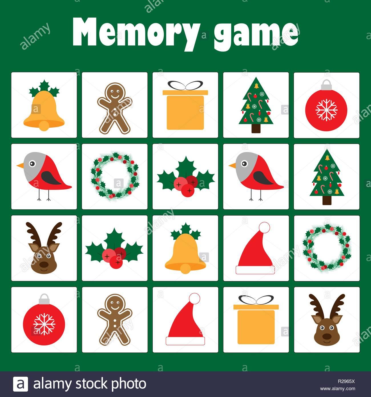 Jeu De Mémoire Avec Des Images - Thème De Noël Pour Les destiné Jeux De Memory Pour Enfants