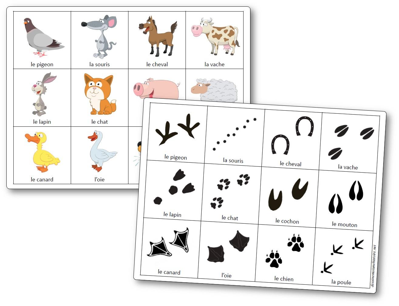 Jeu De Mémoire Des Empreintes D'animaux De La Ferme - Jeu avec Apprendre Le Nom Des Animaux