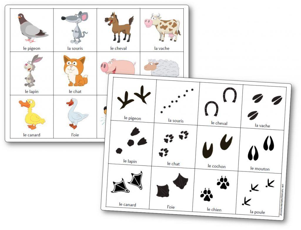 Jeu De Mémoire Des Empreintes D'animaux De La Ferme - Jeu encequiconcerne Jeux D Animaux De La Ferme