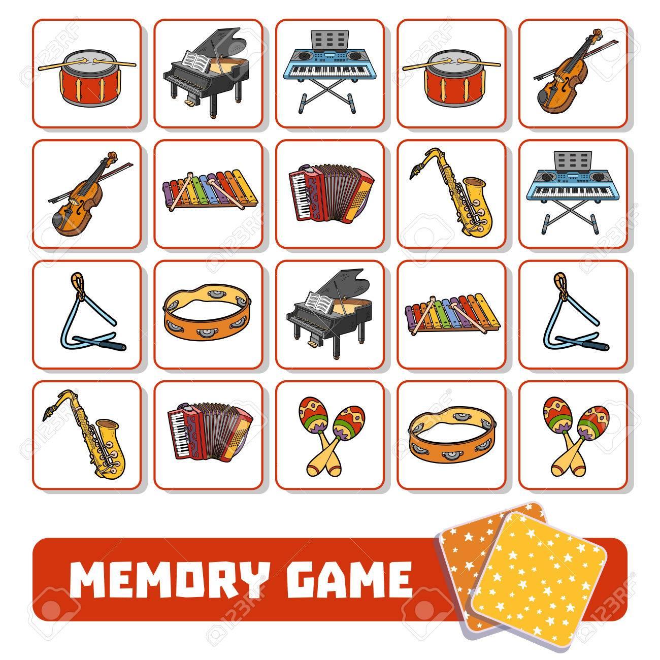 Jeu De Mémoire Pour Enfants D'âge Préscolaire, Cartes Vectorielles Avec  Instruments De Musique destiné Jeux De Memoire Pour Enfant
