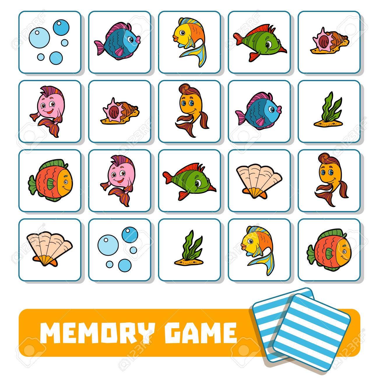 Jeu De Mémoire Pour Enfants D'âge Préscolaire, Cartes Vectorielles Sur Le  Monde De La Mer concernant Jeux De Memory Pour Enfants