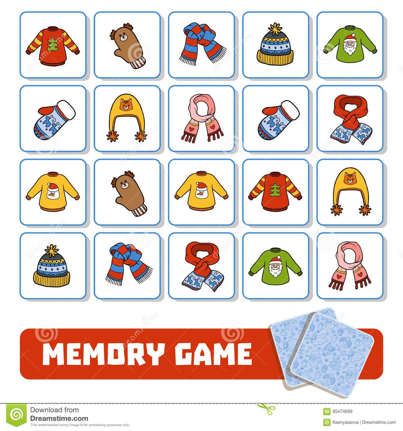 Jeu De Mémoire Pour Les Enfants, Cartes Avec Des Accessoires intérieur Jeux De Memoire Enfant