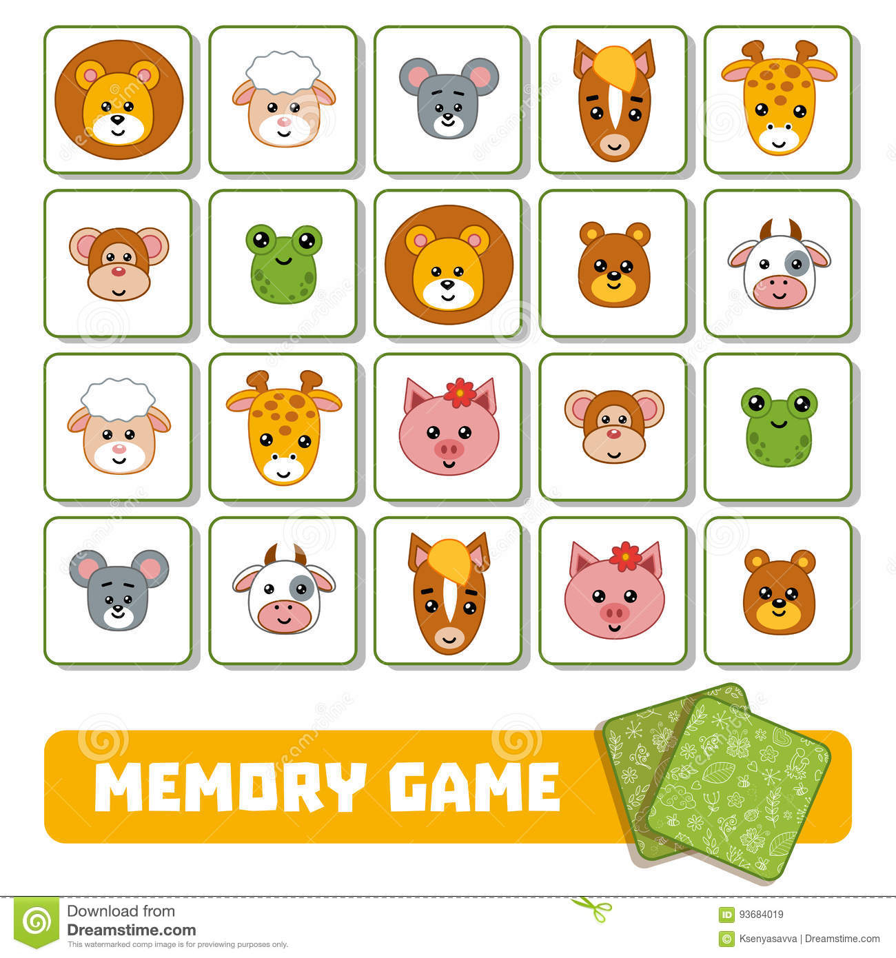 Jeu De Mémoire Pour Les Enfants, Cartes Avec Des Animaux à Jeux Memoire Enfant
