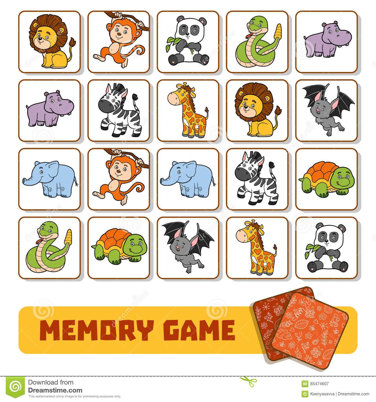Jeu De Mémoire Pour Les Enfants, Cartes Avec Des Animaux De avec Jeux De Memory Pour Enfants