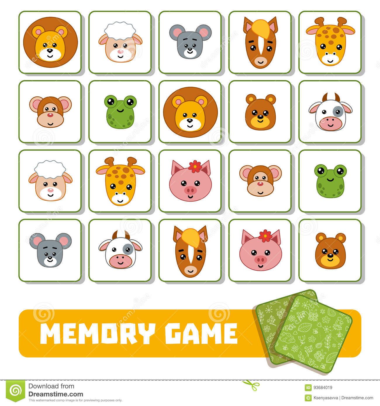 Jeu De Mémoire Pour Les Enfants, Cartes Avec Des Animaux tout Jeux De Memoire Enfant
