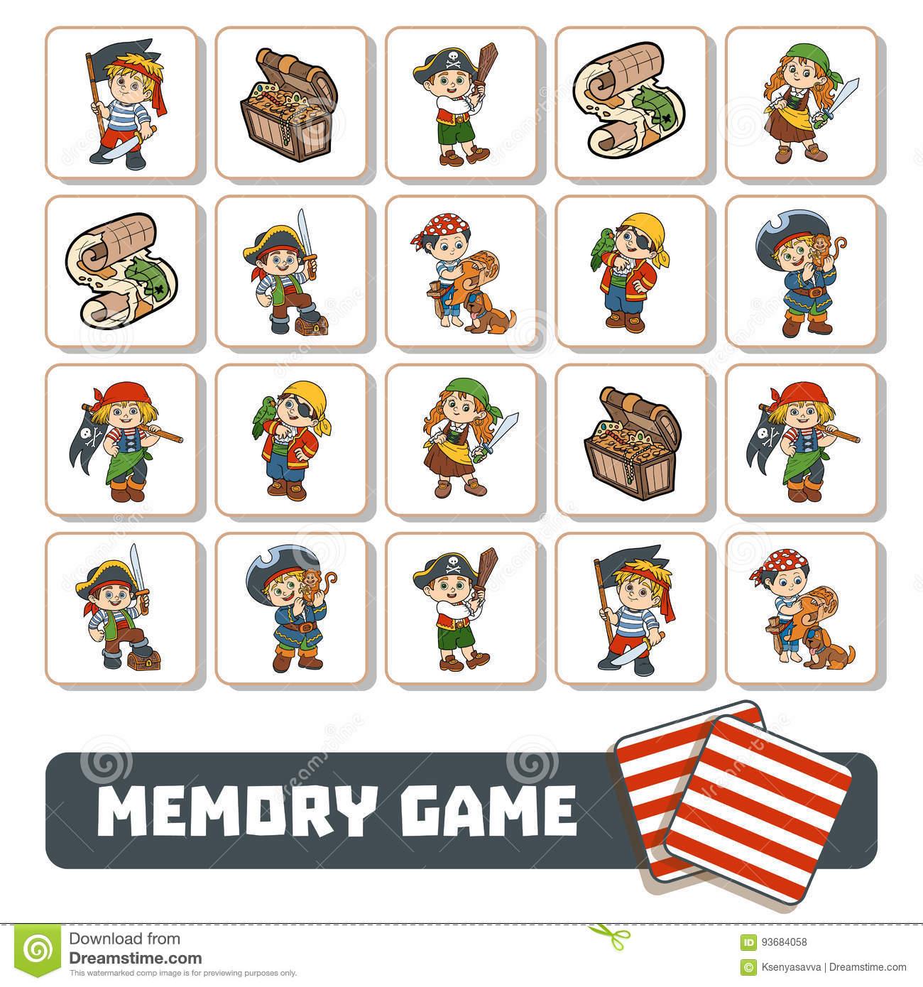 Jeu De Mémoire Pour Les Enfants, Cartes Avec Des Caractères tout Jeux De Memoire Enfant
