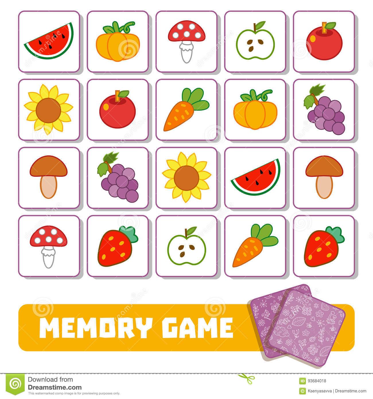 Jeu De Mémoire Pour Les Enfants, Cartes Avec Des Fruits Et avec Jeux De Memoire Pour Enfant