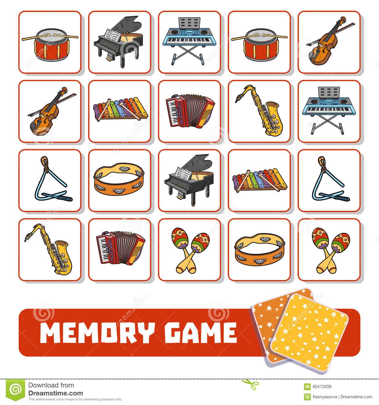 Jeu De Mémoire Pour Les Enfants, Cartes Avec Des Instruments intérieur Jeux De Memoire Pour Enfant