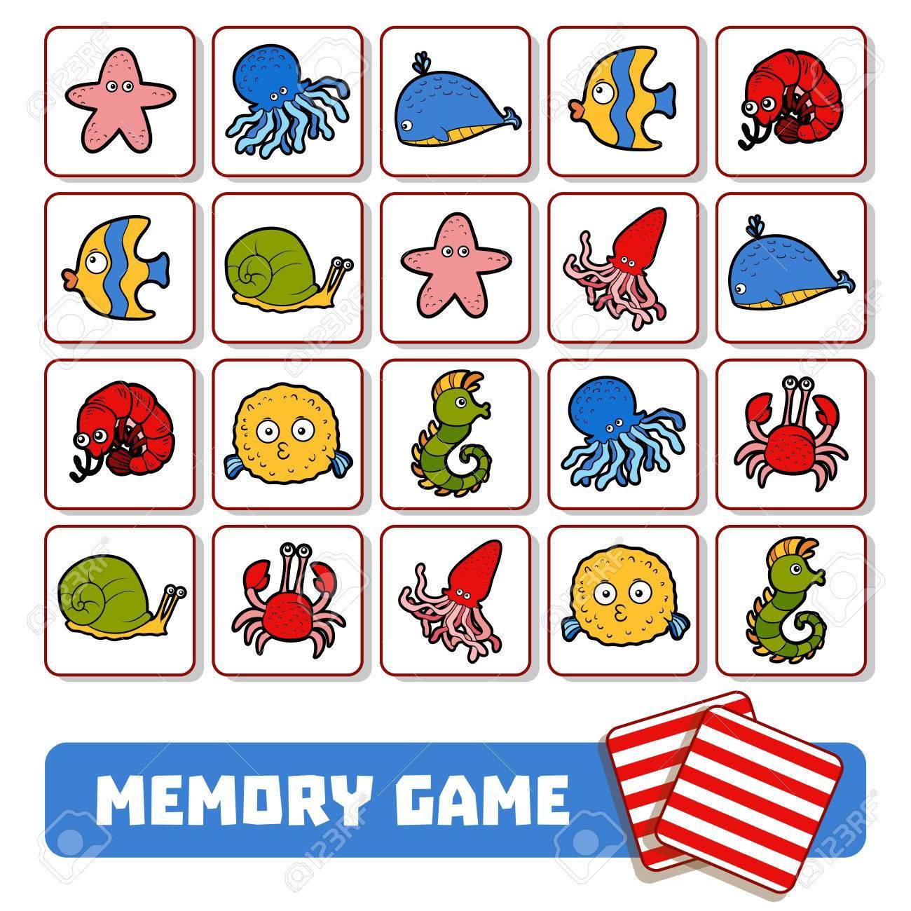 Jeu De Mémoire Pour Les Enfants D'âge Préscolaire, Cartes De Vecteur Avec  Des Animaux Marins dedans Jeux De Memoire Enfant