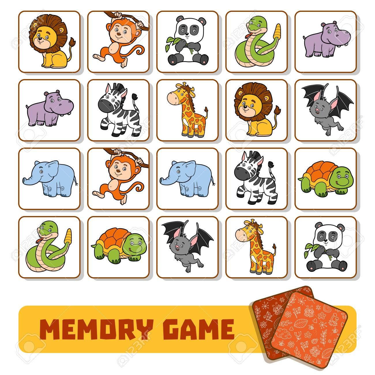 Jeu De Mémoire Pour Les Enfants D'âge Préscolaire, Des Cartes Vectorielles  Avec Des Animaux De Zoo destiné Jeux De Memoire Pour Enfant