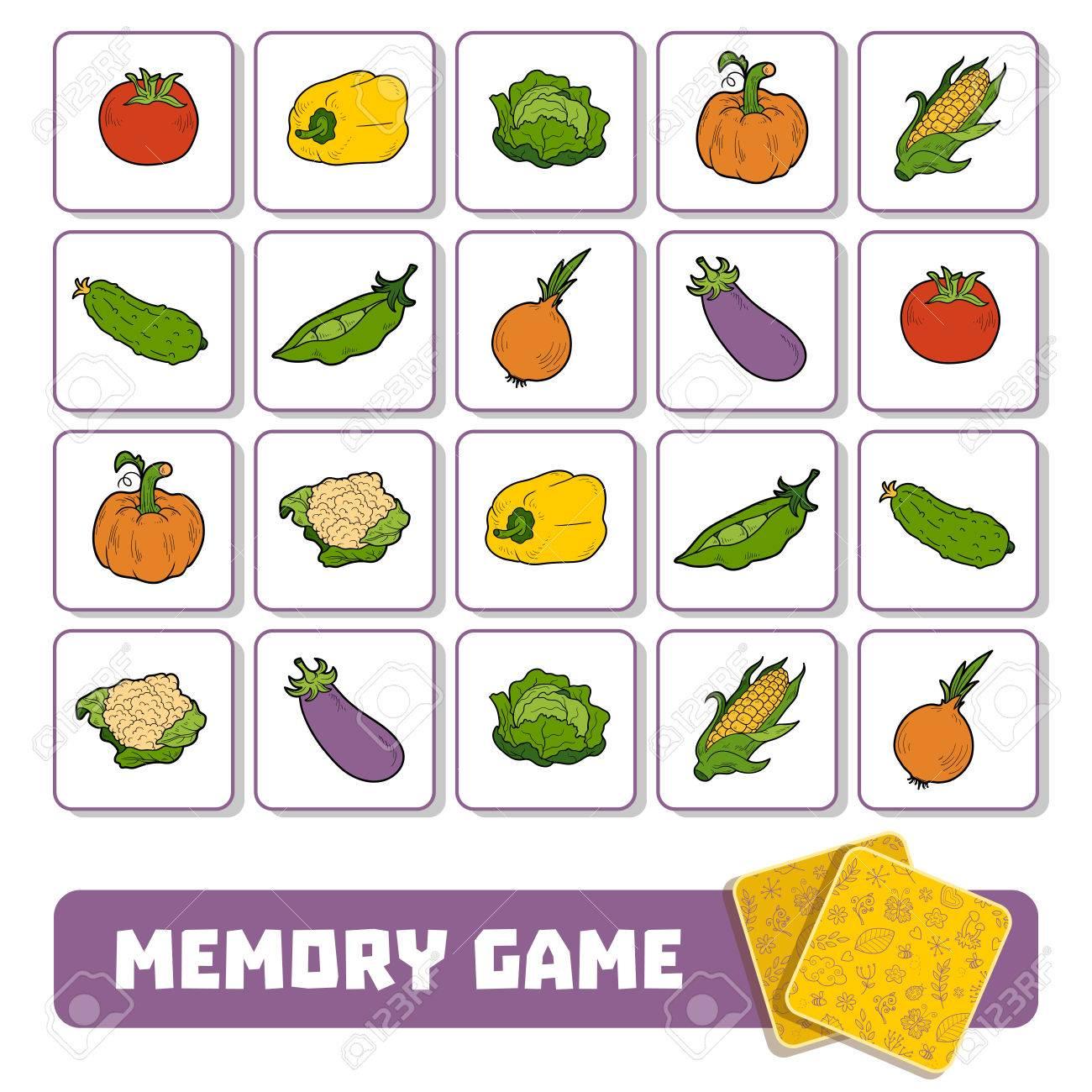Jeu De Mémoire Pour Les Enfants D'âge Préscolaire, Des Cartes Vectorielles  Avec Des Légumes pour Jeux Memoire Enfant