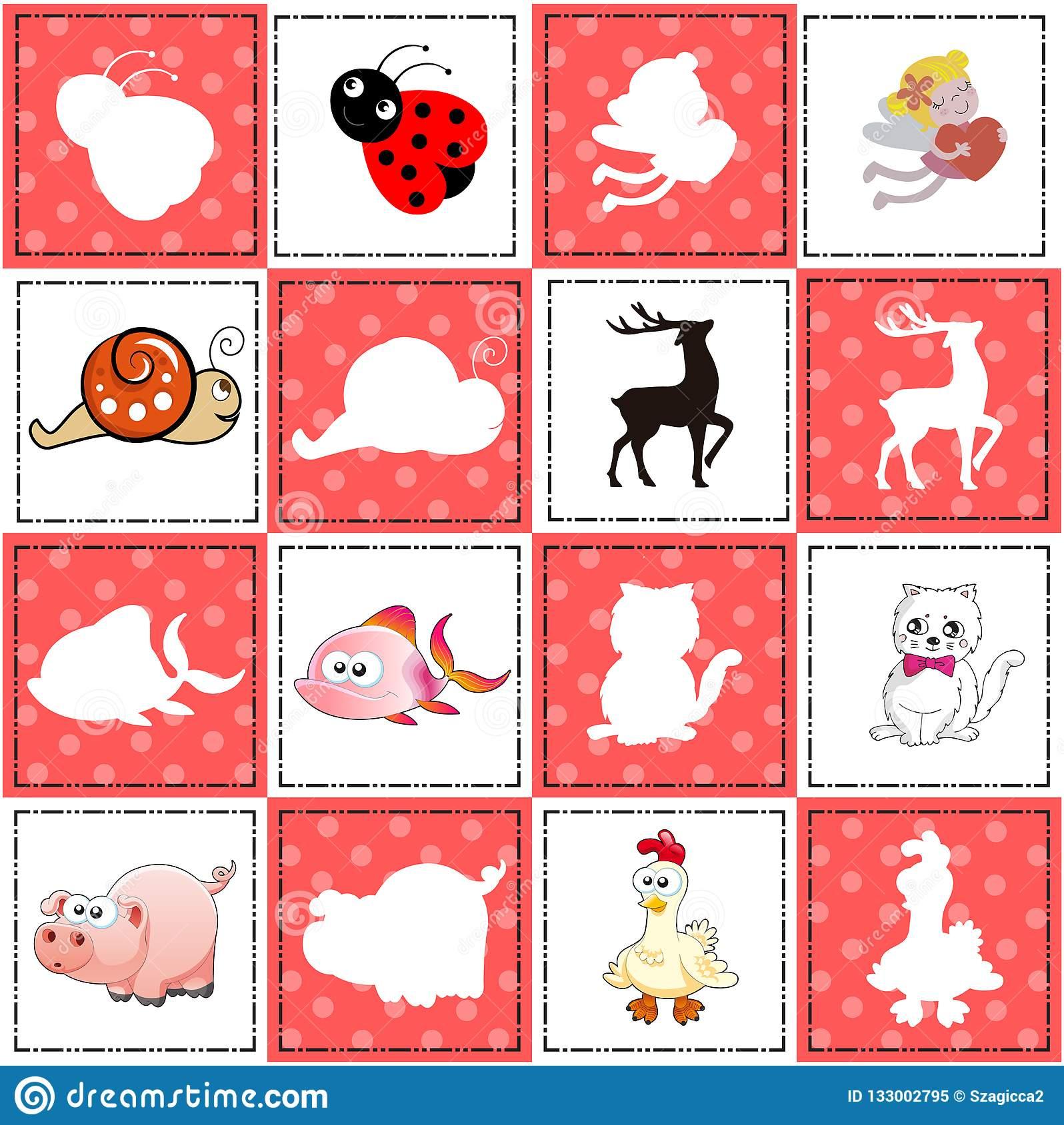 Jeu De Mémoire Pour Les Enfants Préscolaires, Cartes De avec Jeux De Memoire Enfant