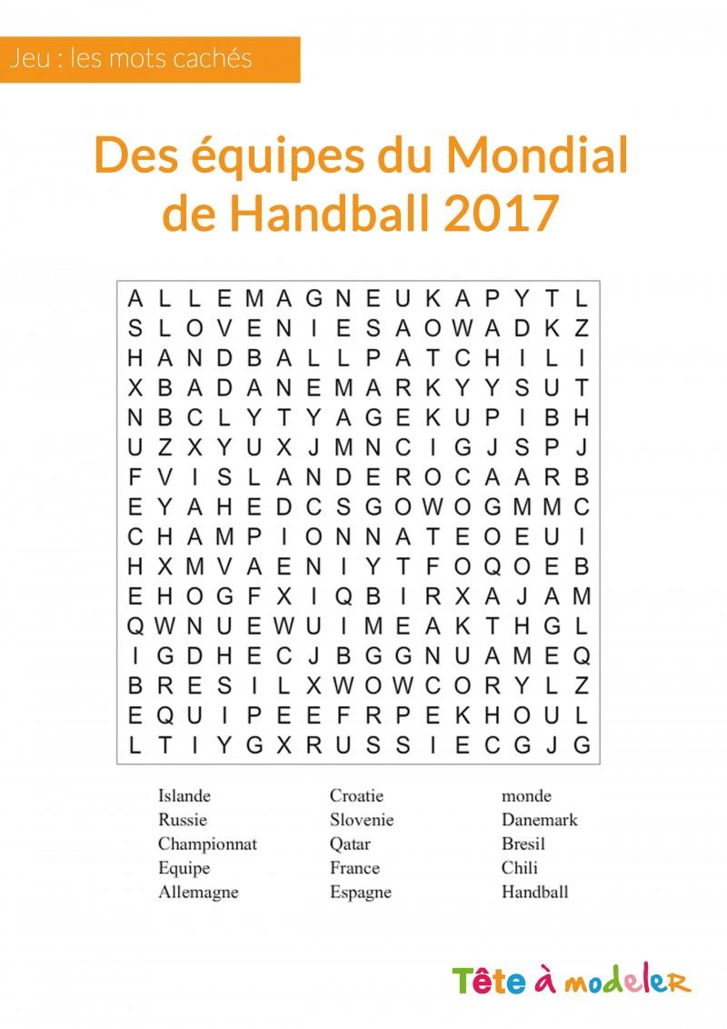 Jeu De Mots Cachés - Championnat Du Monde De Handball à Mots Croisés Enfants À Imprimer